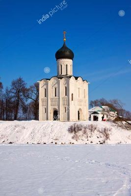 Church of the Intercession on the River Nerl in winter. Russia
