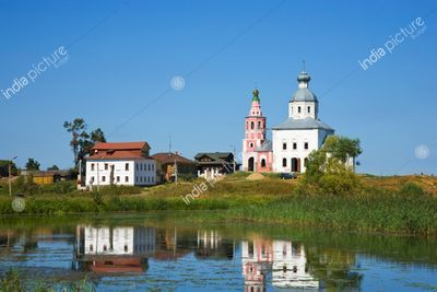 View of Il'inskaya church and Kamenke river at Suzdal in summer. Russia