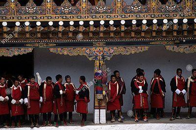 Monks inside Punakha Dzong , Bhutan