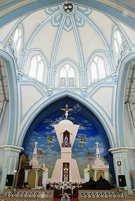 Interiors of Our Lady of Lourdes Metropolitan Cathedral in Thrissur  ,   Kerala  ,   India